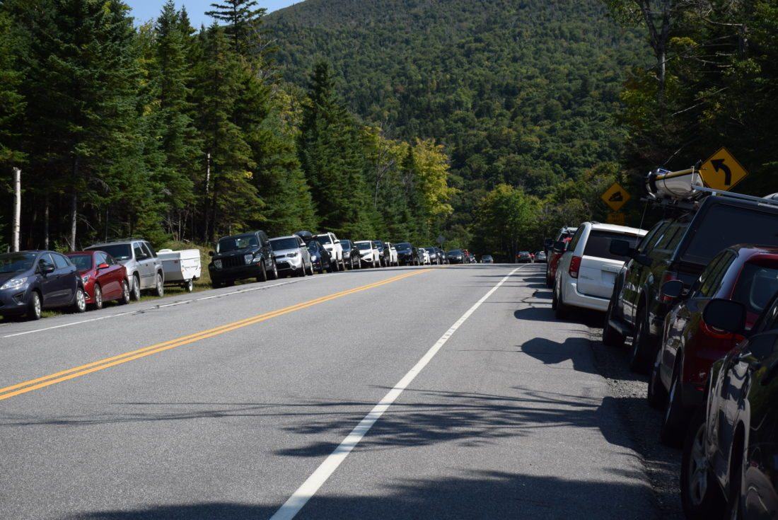 Cars park along state Route 73 near the Cascade Trailhead in September 2016.  (Enterprise photo — Justin A. Levine)