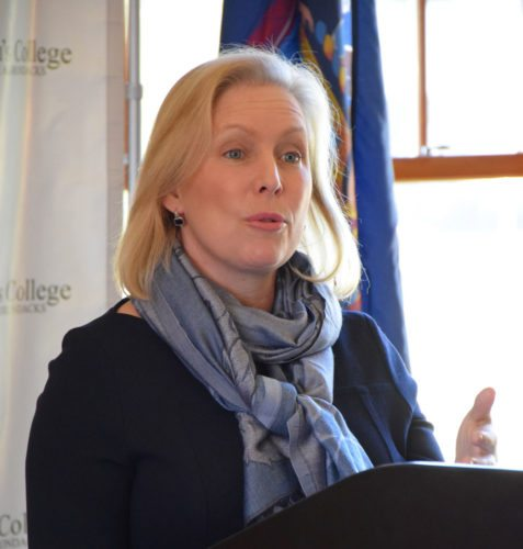 United States Sen. Kirsten Gillibrand speaks at Paul Smith's College Monday afternoon.  (Enterprise photo — Justin A. Levine)
