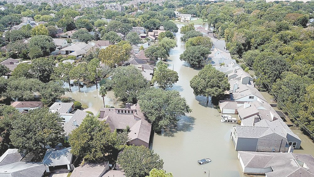 A flooded area of southeast Texas is seen from a drone piloted by New York state Forest Ranger Bruce Lomnitzer of Indian Lake during his work last month assisting people and locations damaged by Hurricane Harvey. The state Department of Environmental Conservation has also deployed rangers and drones to help with efforts in Puerto Rico after it was ravaged by Hurricane Maria. (Photo provided by DEC)