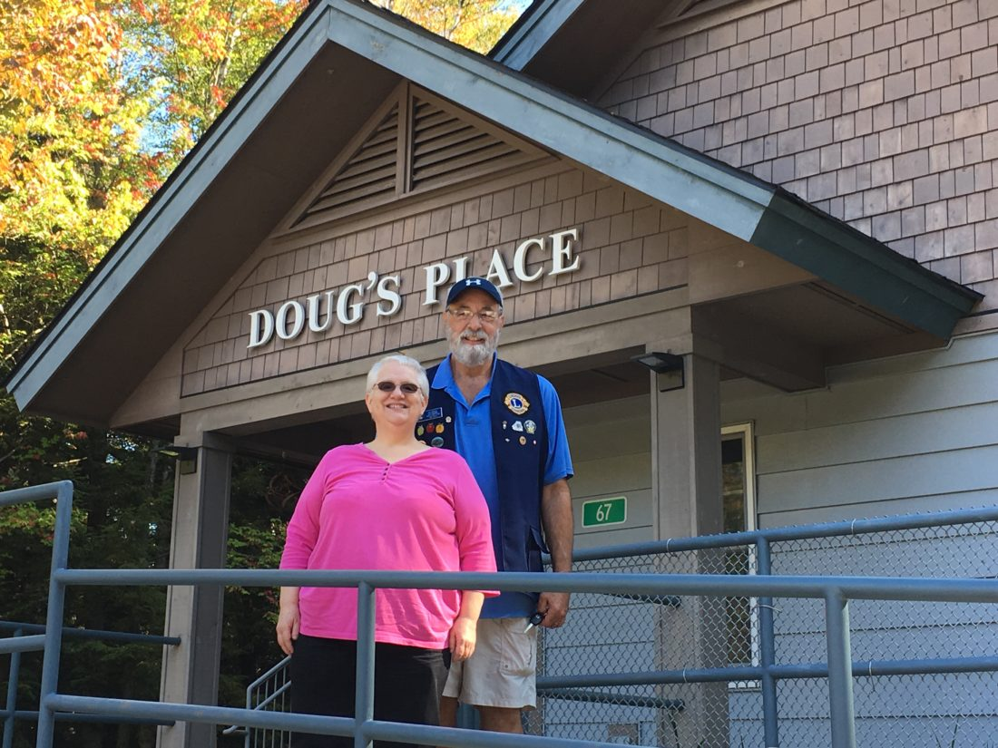 Local Lions SEE Chair Susan Steen and Peru Lion Ed Eisele (Lions SEE screening trainer) pose outside Doug's Place Day Care in SaranacLake. (Photo provided)