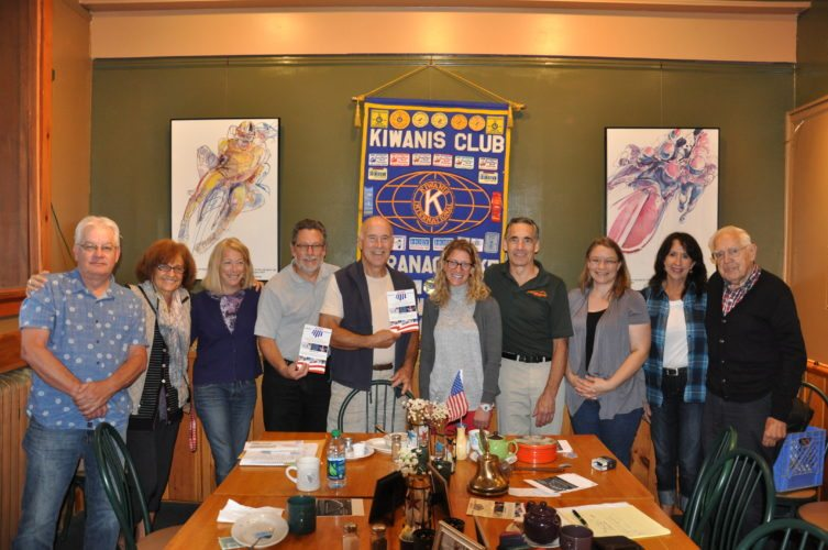 "At the Kiwanis weekly meeting on Sept., 28, Danielle LaCavalla, director of communications and development for the New York Ski Educational Foundation, spoke about NYSEF's Winter Term Program for athletes of all ages to reach their potential in snow sports. Pictured from left to right are Lonnie Ford, Karen Dailey, Judy Nisson, Keith Freeman, Roger Steinbrueck, Danielle LaCavalla, Dan Reilly, Aleacia Landon, Stephanie Sargent, and Richard ""Doc"" Loomis. (Photo provided)"