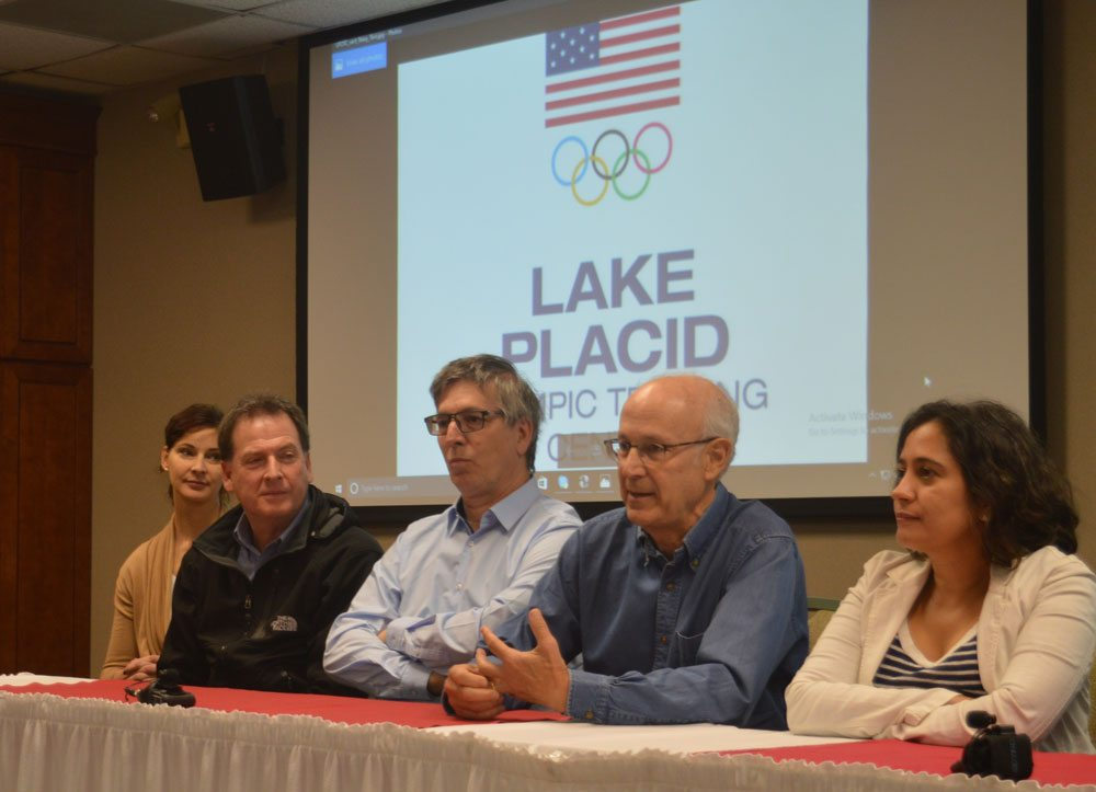 David Simon, the president of the Los Angeles Sports Council, speaks at the Lake Placid Olympic Training Center Thursday during a visit to Lake Placid by members of the World Union of Olympic Cities, who held their meeting earlier this month in Montreal. (Enterprise photo — Antonio Olivero)