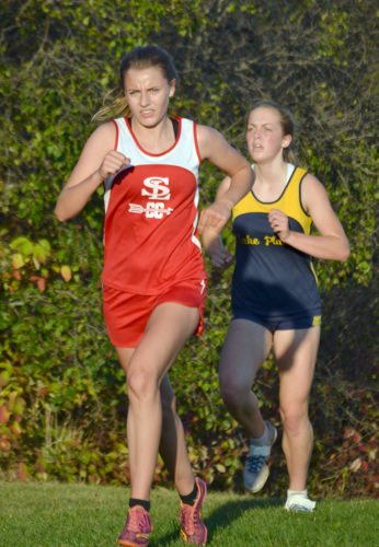 Madison Grimone, of Saranac Lake, leads Lake Placid's Marli Damp during Tuesday's meet at Camp Dudley in Westport. (Provided photo — Chris Grimone)
