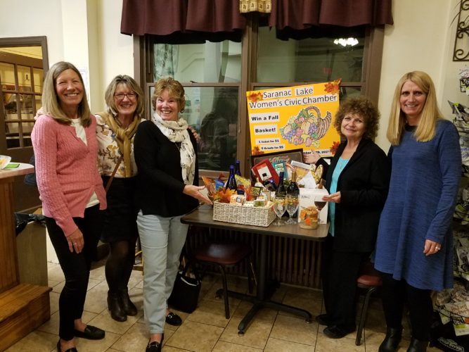 The Women's Civic Chamber showcases fall baskets that will be raffled on Thursday, Nov. 16. Tickets are $1 or six for $5. Pictured, from left, are Elle Finocan, Susan Rdzanek, Marilyn Bigelow, Beryl Szwed and Patti Sauvie. (Photo provided)