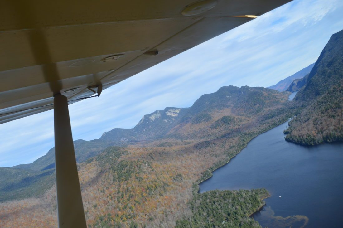 "As Bob Rose banks west toward Mount Marcy, this is the view back north toward Upper AuSable Lake and the New York State ""Great Range."" (Enterprise photo — Antonio Olivero)"