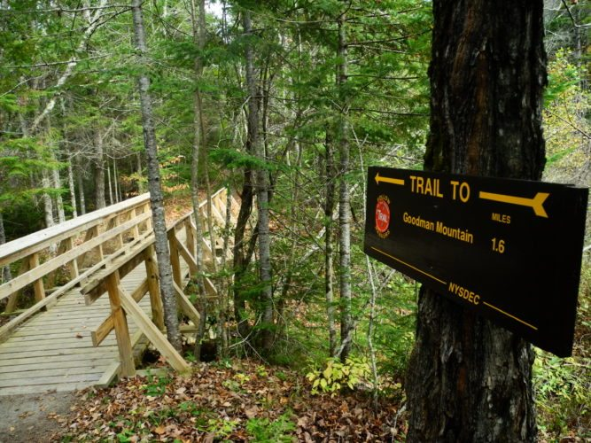 The Goodman Mountain trailhead is seen Thursday. Goodman is one of three Tupper Lake area mountains that are part of the Tupper Triad challenge Saturday that asks hikers to traverse Mount Arab, Goodman and Coney Mountain in one day. (Enterprise photo — Aaron Cerbone)