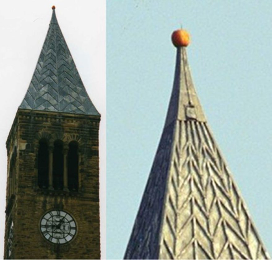 An odd sight —a pumpkin sits impaled atop Cornell University''s McGraw Tower on Oct. 8, 1997. (Photo provided by Cornell University)