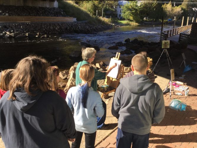 Young artists from Saranac Lake Middle School had the opportunity to explore Plein Air painting with local artist Nancy Brossard. The easels lined the Riverwalk for 2 days after school as the students learned to work outside to capture the light and color of our town. Thanks to funding by Saranac Lake Young Arts the painters had a wonderful experience. (Photo provided)