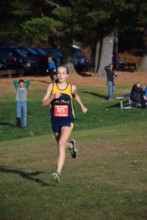 The Champlain Valley Athletic Conference cross country championships were held Friday at the Cadyville Recreational Park. Lake Placid's Annie Rose-McCandlish was the first finisher for the Blue Bombers girls team in the race. (Enterprise photo — Justin A. Levine)