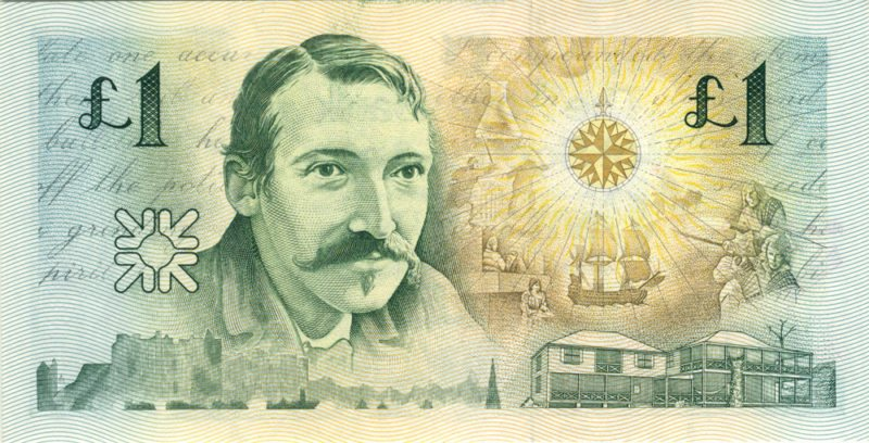Robert Louis Stevenson is depicted on a Scottish one-pound note. Scots forgave their wayward son as his posthumous fame spread around the globe.
