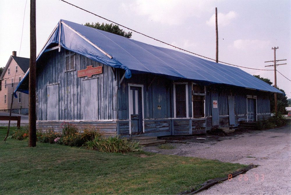 The train station in New Freedom, Pennsylvania, is seen before being renovated. (Photo provided by Carl Knoch)