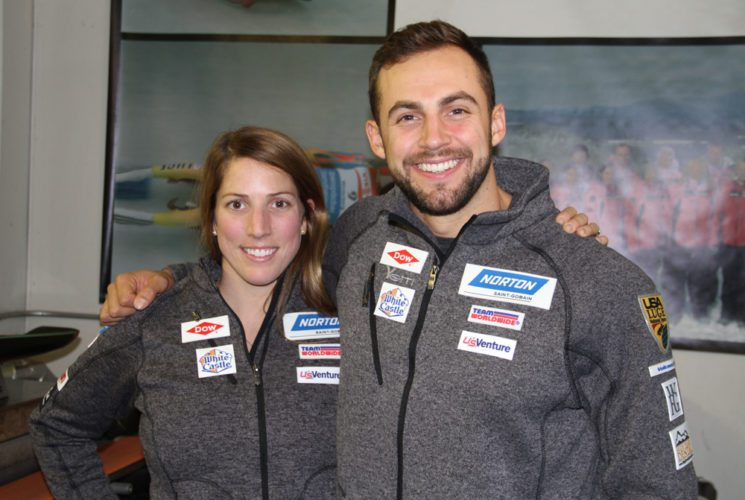 Erin Hamlin and Chris Mazdzer, seen here on Thursday, Oct. 26, spent part of last week in Lake Placid giving interviews to the media at the USA Luge headquarters on Church Street. (Photo — Andy Flynn)