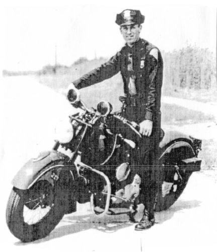 Patrolman Byno on his 1948 Indian motorcycle