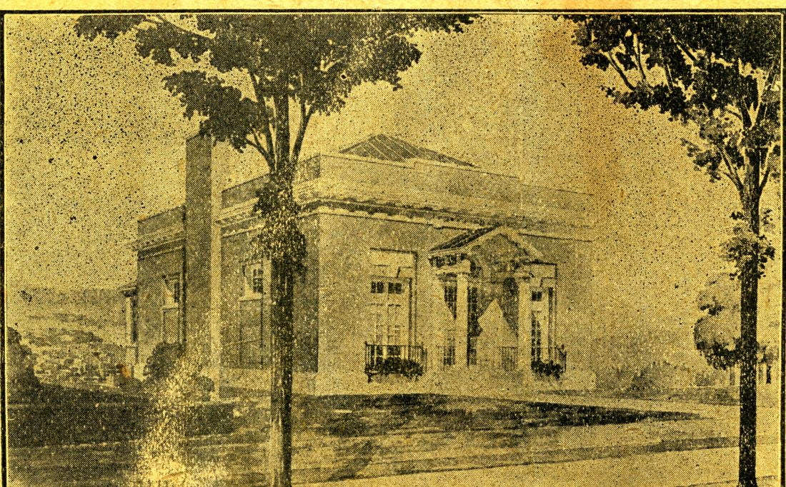 Library celebrates 110th birthday!  In 1907 a group of dedicated Saranac Lake citizens formed a library association, obtained the charter from the Regents of the University of the State of New York, and proceeded to raise funds to build the library. This sketch from the July 29, 1909, Adirondack Daily Enterprise showed the plan for the new library which was completed in 1910. (Sketch courtesy of the Adirondack Research Room, Saranac Lake Free Library)