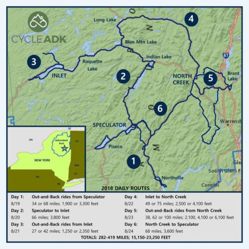 Route map for next Cycle Adirondacks, Aug. 18 to 24, 2018
