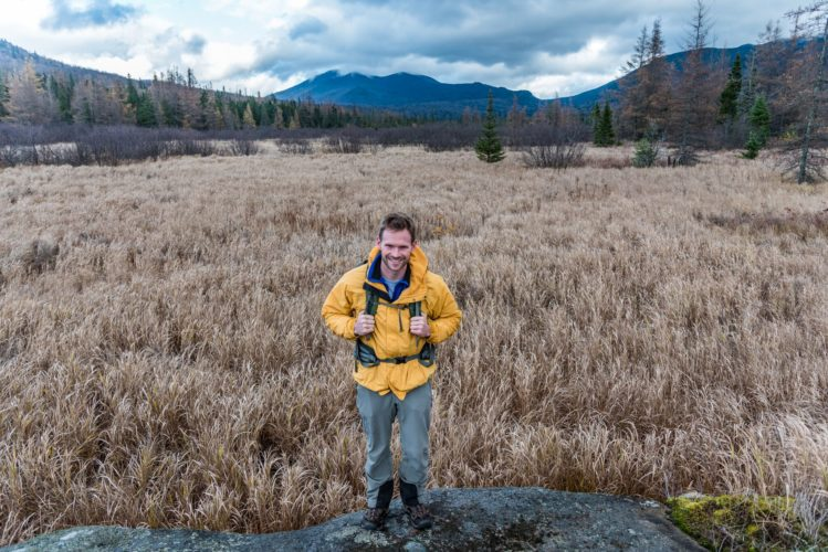 Tyler Socash, an activist with Adirondack Wilderness Advocates, will carry nearly 2,000 letters to the state Adirondack Park Agency meeting today. Socash is carrying the letters from the southern end of the Boreas Ponds tract up through the High Peaks Wilderness Area. (Photo provided by Brendan Wiltse)