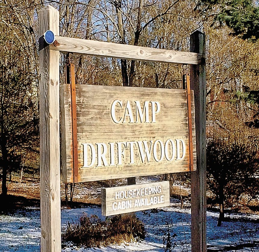 Camp Driftwood signage is seen along Sabael Road along the shore of Indian Lake. (Photo provided — Bill Quinlivan)