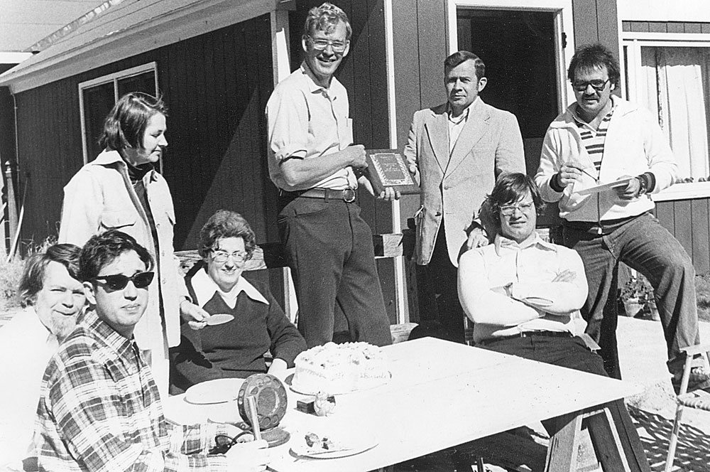 WNBZ staff celebrate the radio station's 50th anniversary on Sept. 11, 1977, outside Radio Park off Santanoni Avenue in Saranac Lake. Seated from left are Gary Lefebvre, Chris Brescia, Muriel Beseth and Roy Kristoffersen; standing from left are Keele Rogers, James Rogers III, Saranac Lake Chamber of Commerce President Robert MacIntire and Sandy Caligiore. (Enterprise photo — James Odato)