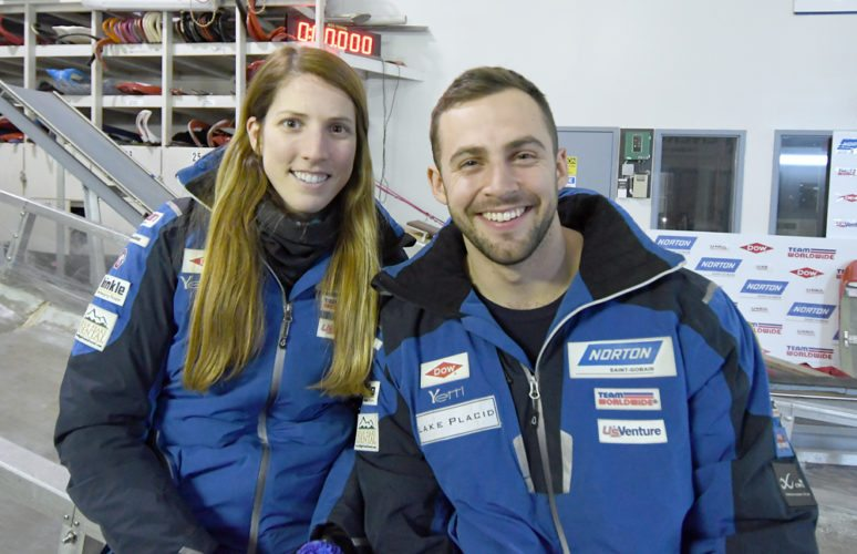 Erin Hamlin and Chris Mazdzer pose for a photo in March at the USA Luge headquarters in Lake Placid. (Enterprise photo — Lou Reuter)