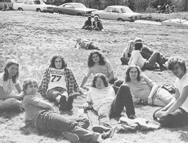NCCC students relax outside in 1974.