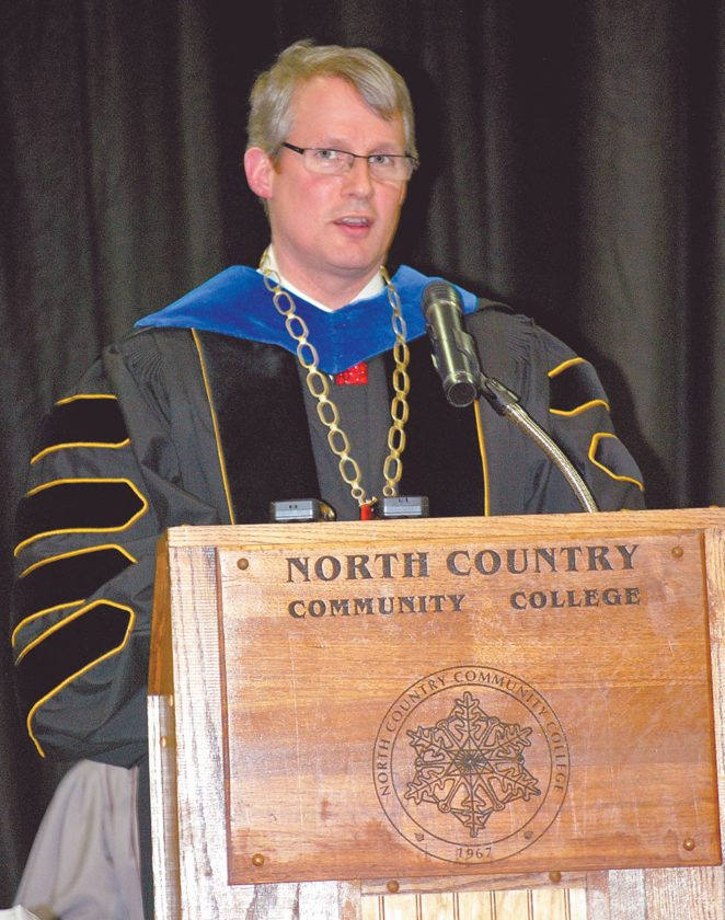 Current NCCC President Steven Tyrell speaks at the graduation ceremony in 2013. (Enterprise photo)