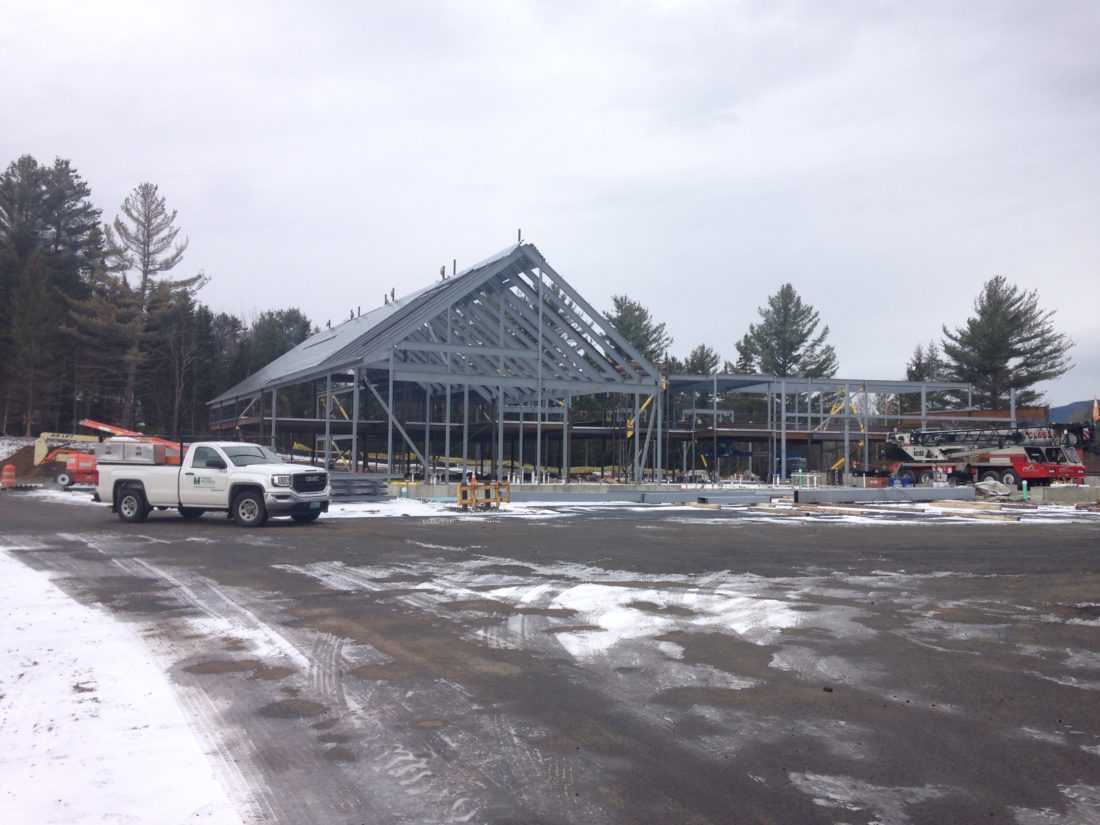 The steel frame is up at Adirondack Health's new facility on Old Military Road in Lake Placid, that will soon replace the old hospital there. Here it is seen Saturday. (Enterprise photo — Peter Crowley)