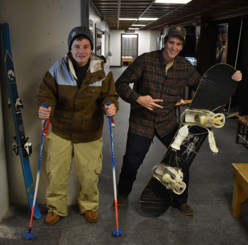 Alex Whiston, left, and Mackenzie Wollert have been skiing, snowboarding and making friends at Whiteface Mountain for the past couple of years. They returned over the weekend for the mountain's opening. (Enterprise photo —Griffin Kelly)