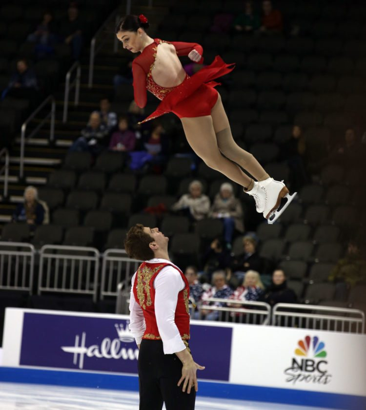 Haven Denney and Brandon Frazier perform at the 2017 U.S. International Classic figure skating event in Salt Lake City. The elite pairs team will contend for the Skate America title Friday at the Olympic Center in Lake Placid. The event continues through Sunday. (Provided photo — Melissa Majchrzak)