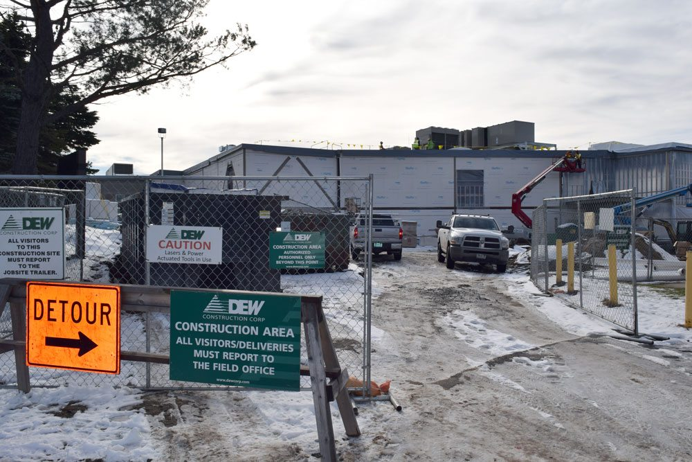Construction continues on a new wing of Adirondack MEdical Center in Saranac Lake this week.  (Enterprise photo — Glynis Hart)