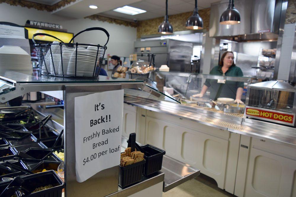 Fresh bread is available at the salad bar at Adirondack Medical Center in Saranac Lake.  (Enterprise photo — Glynis Hart)