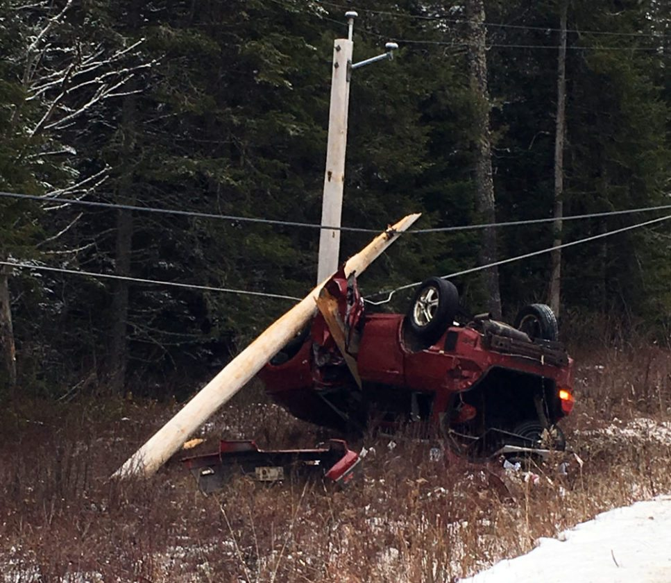 A fatal car crash snapped a utility pole Thanksgiving afternoon on Franklin County Route 55 between Bloomingdale and Gabriels. (Photo provided — Ryan Murray)