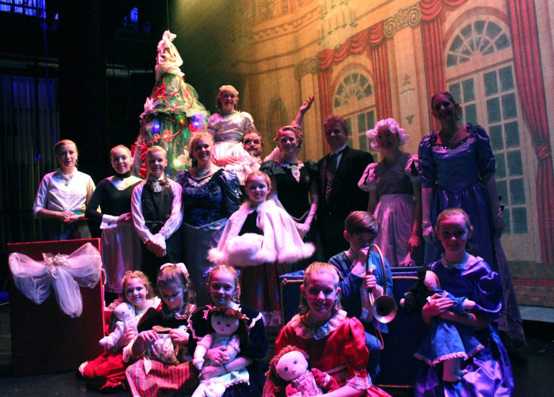"""""""Nutcracker"""" ballet is at Lake Placid Center for the Arts Dec. 2-3, 2017. Pictured are (back row: Amber Winch, Celidh Cheeseman, Harvey Runyon, Julia Loomis, Lillian TullerUss, Tyler Nye, Kristen Glazier, Tyler Chase, Deana Reyore and Laura Coffin; (front row): Emma VanWeelden, Aurora Brunner, Emery Toohey, Lexi Coffin, Will Coffin and Addison Toohey. Pictured at center is Autumn Whitney. (Photo provided — Diane Chase)"""