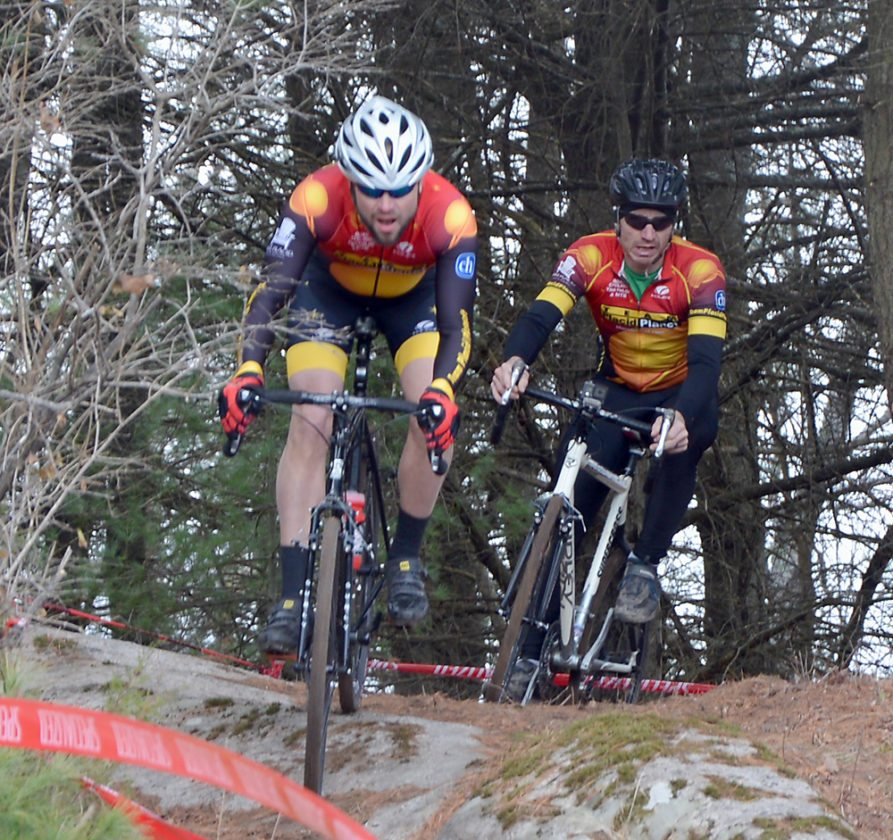 Team Placid Planet racers Nick Seleni, of Saranac Lake, left, and Scott Lawrence, of Wilmington, take on a descent during Saturday's Category 5 race at the Wadhams Turkey Burner Cyclocross event. (Provided photo — Jason Amoriell)