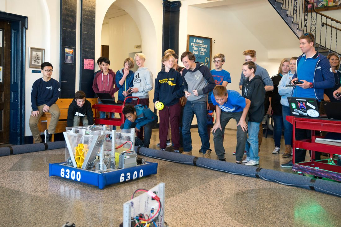Northwood Students and teachers brought one of the school's robots to the Lake Placid High School to  demonstrate how our robotics classes work to the high  school students.  (Photo provided)