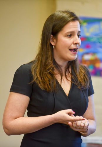 U.S. Rep. Elise Stefanik answers questions during an event in April 2017 at the Lyons Falls Library.  (Photo provided — Amanda Morrison, Watertown Daily Times)