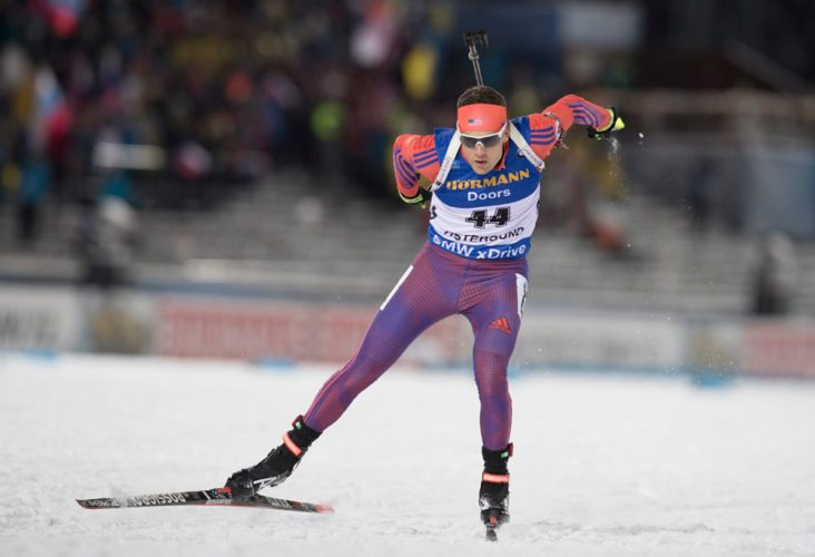 Paul Smiths native Tim Burke competes in the 20-kilometer individual race Thursday at the opening World Cup event of the season in Ostersund, Sweden. (Provided photo — NordicFocus/U.S. Biathlon)