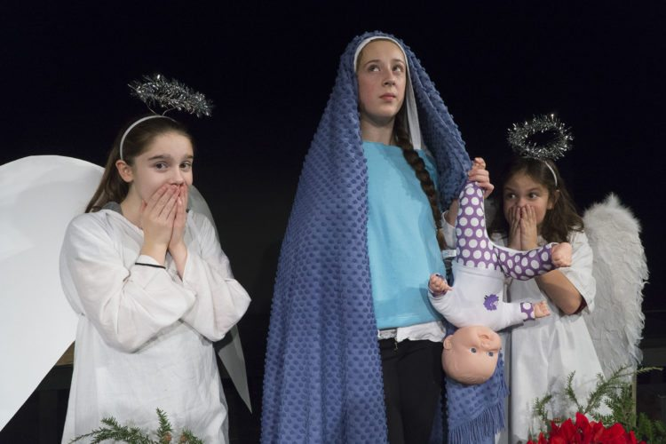 """From left, Kaitlin Yando, Eleanor Crowley and Madison Wilcox present a different take on the Nativity story. Crowley plays Imogene Herdman, a misunderstood child who makes a ruckus in """"The Best Christmas  Pageant Ever.""""  (Photo provided by  Pendragon Theatre)"""