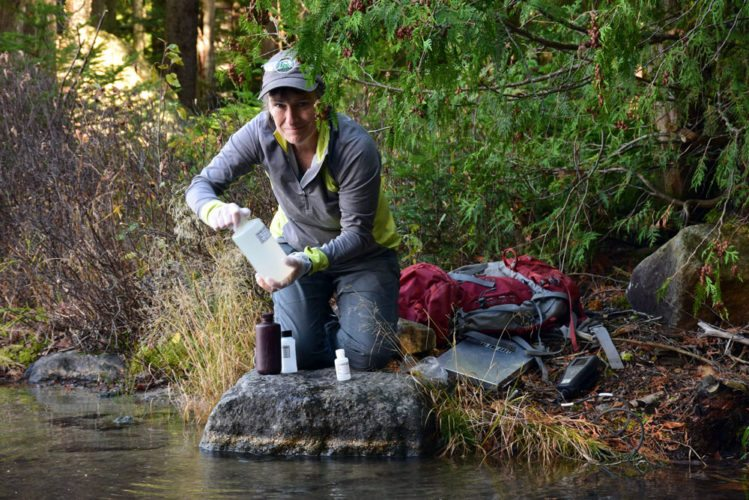 Sue Capone, a longtime Adirondack Lake Survey Corporation employee, takes a water sample at Heart Lake in the High Peaks in mid-October. (Enterprise photo — Justin A. Levine)