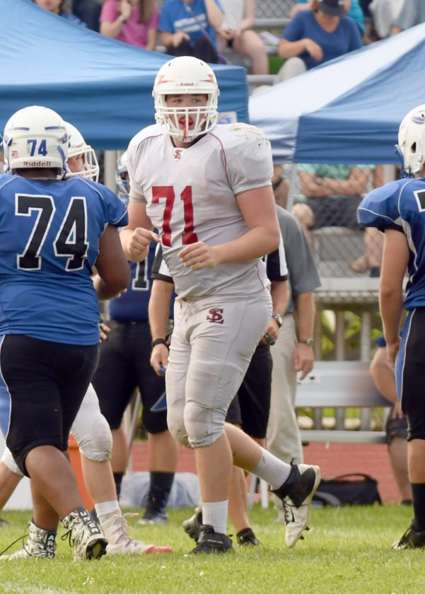 Saranac Lake senior Sean Lincoln was named as the CVAC's lineman of the year in addition to making first team as an offensive lineman. (Enterprise photo — Lou Reuter)