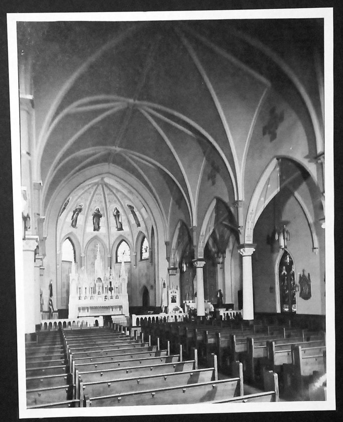 St. Bernard's Church was widely considered one of the most beautiful in the North Country due to its hand-painted sacristy and altar of imported Carrara marble. (Photo from the Saranac Lake Free Library's Adirondack Research Room)