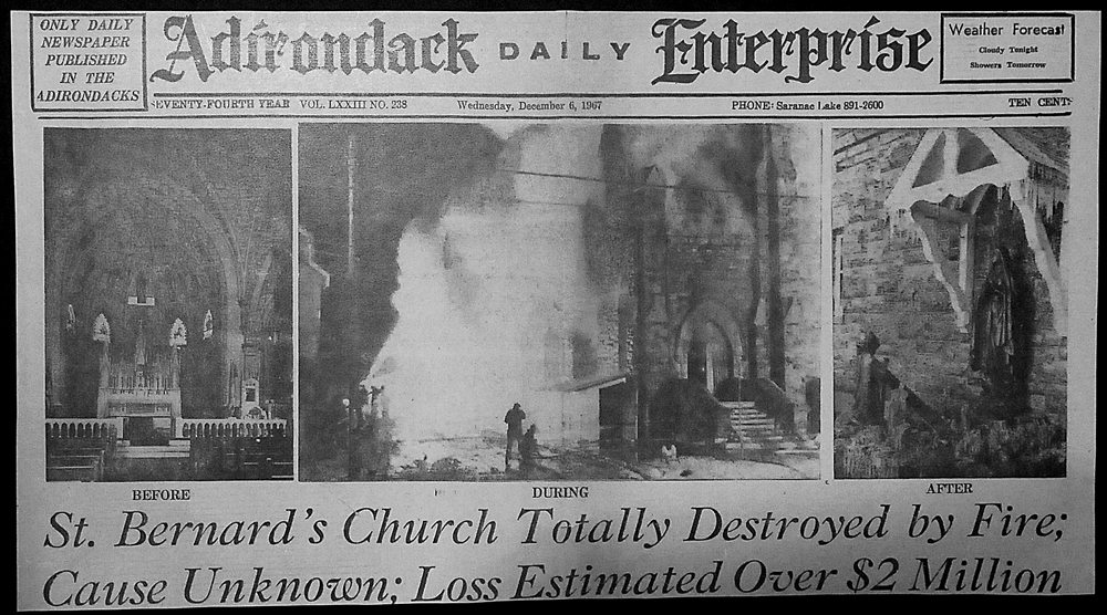 The front page of the Enterprise on Dec. 6, 1967 shows the devastating fire that destroyed St. Bernard's church.