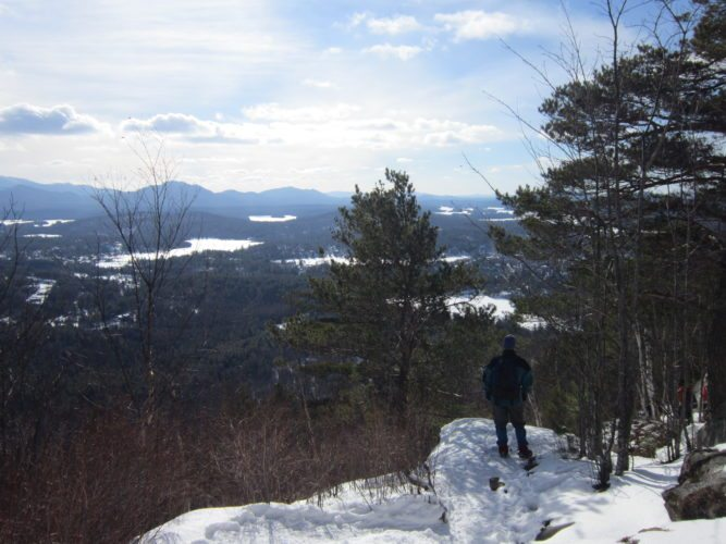 Overlooking Saranac Lake from the summit of Mount Baker.  (Enterprise photo — Diane Chase)