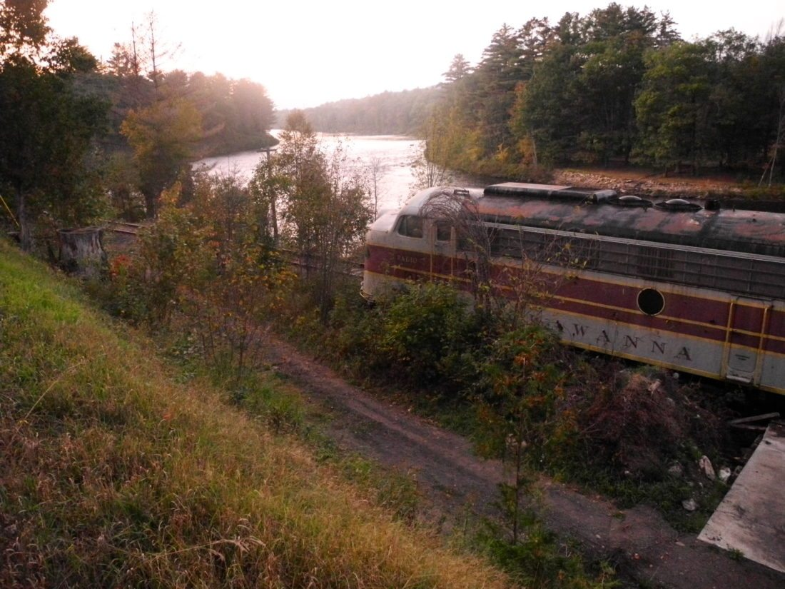 Train engines sit on tracks outside of the North Creek station of the Saratoga and North Creek Railway, alongside state Route 28. More rail cars were brought in this summer. (Enterprise photo — Aaron Cerbone)