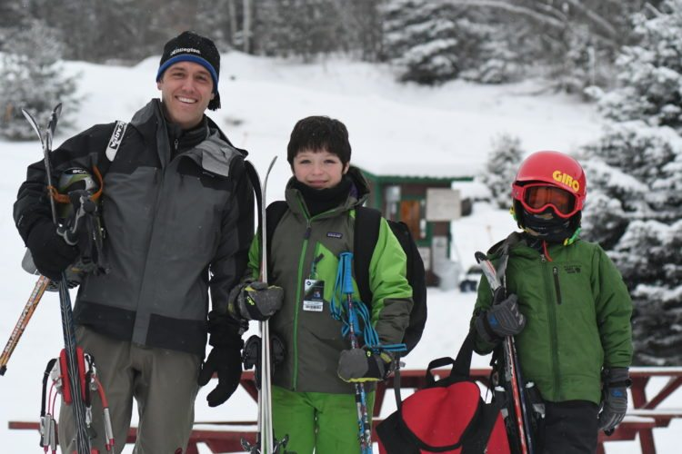 From the left, Scott Stoddard and his sons Mason and Liam are ready to ski. (Enterprise photo — Lou Reuter)