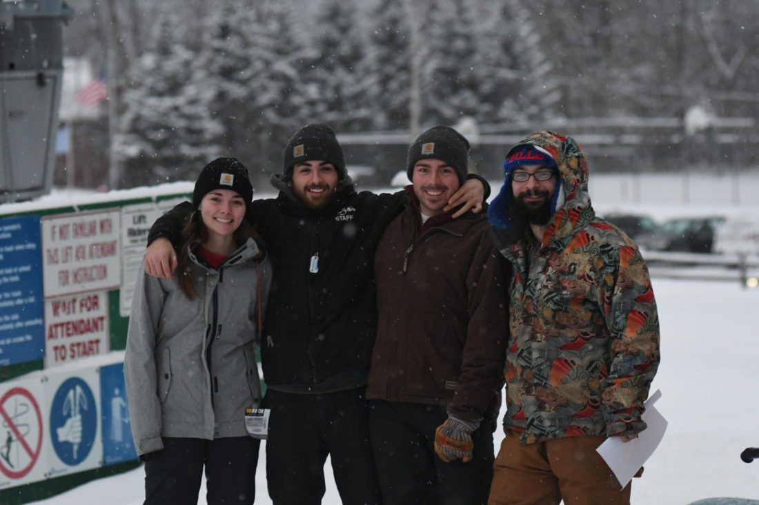 Mount Pisgah crew members, from the left, Madi Sweeney, Nick Salamy, Nick Sweeney and Miles Gillette are ready to help. (Enterprise photo — Lou Reuter)