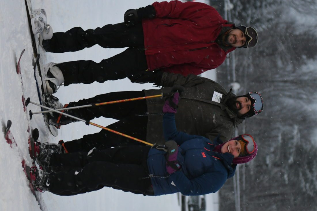 Brothers Chris and Kenny Luettger and Kenny's wife Amber are ready to take the T-bar to the top. (Enterprise photo — Lou Reuter)