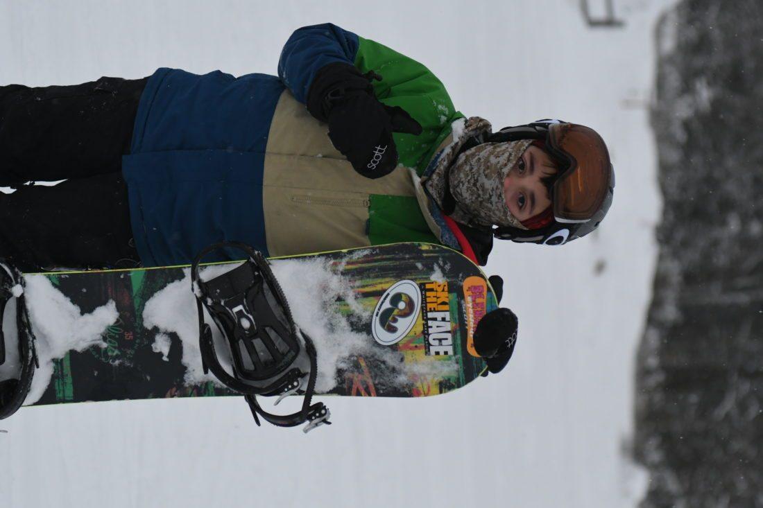 Owen Muncil was the first rider down the mountain this season. (Enterprise photo — Lou Reuter)