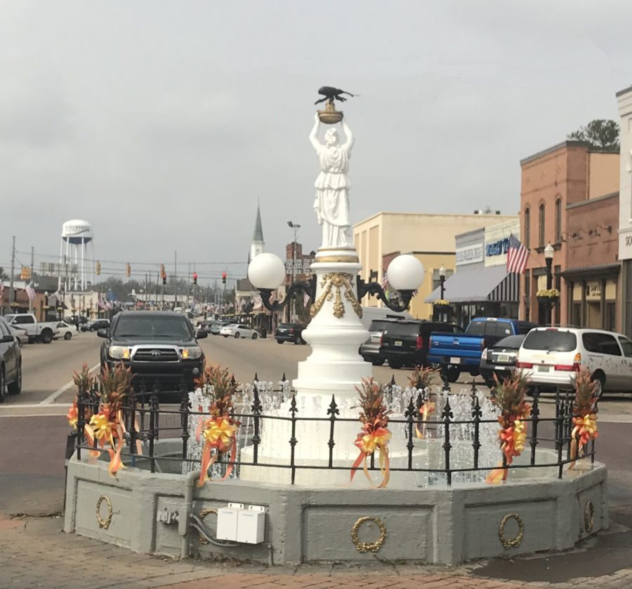Enterprise, Alabama, has a statue of a boll weevil, an insect that devastated the dominant cotton crop and prompted farmers to diversify to other crops such as peanuts.  (Photo provided — Larry Roth)