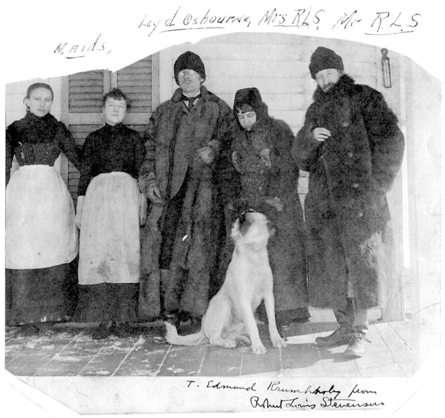 Sport the dog poses with his entourage for photographer T. Edmund Krumholz on Baker's veranda in March 1888. From right are Robert Louis Stevenson, Mrs. RLS, Lloyd Osbourne, a local maid (name unknown) and Valentine Roche, Swiss maid for the Stevensons. (The author's mother, Margaret, was away.)