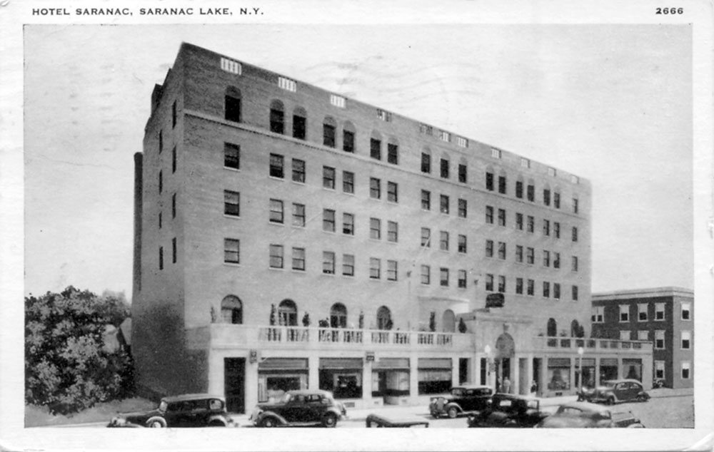 "This ""Penny Postcard"" — that was the cost of the stamp — of the Hotel Saranac was mailed in Saranac Lake on Dec. 7, 1938, at 5 p.m. The message in part reads, ""This new hotel stands where the high school used to be."""